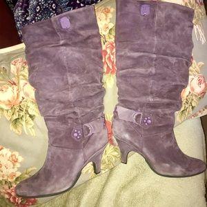 Diesel dusty purple mauve suede boots 9.5